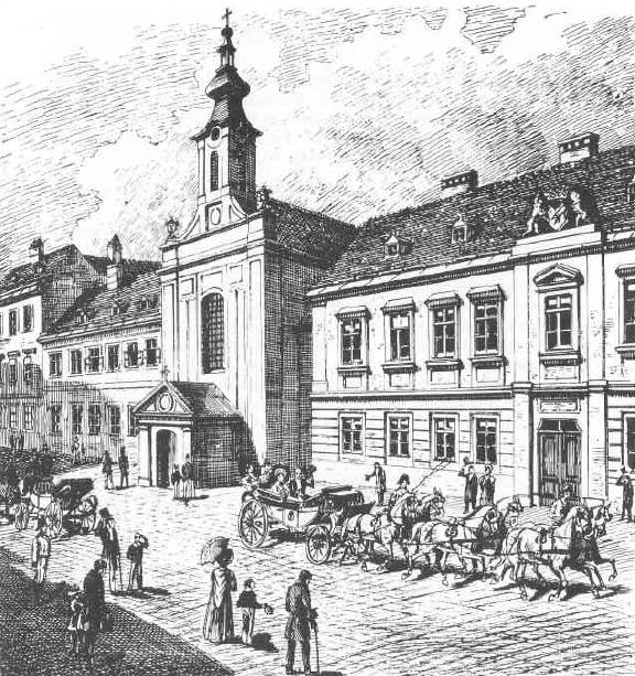 Die 1780 von Franz Duschinger erbaute erste Nepomuk-Kirche